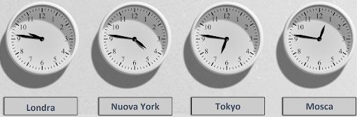 fuso orario di diverse città